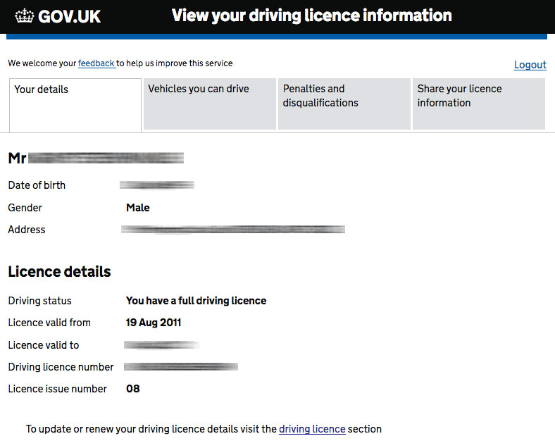 View your drivers licence